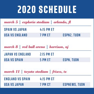 Full 2020 SheBelieves Cup Schedule