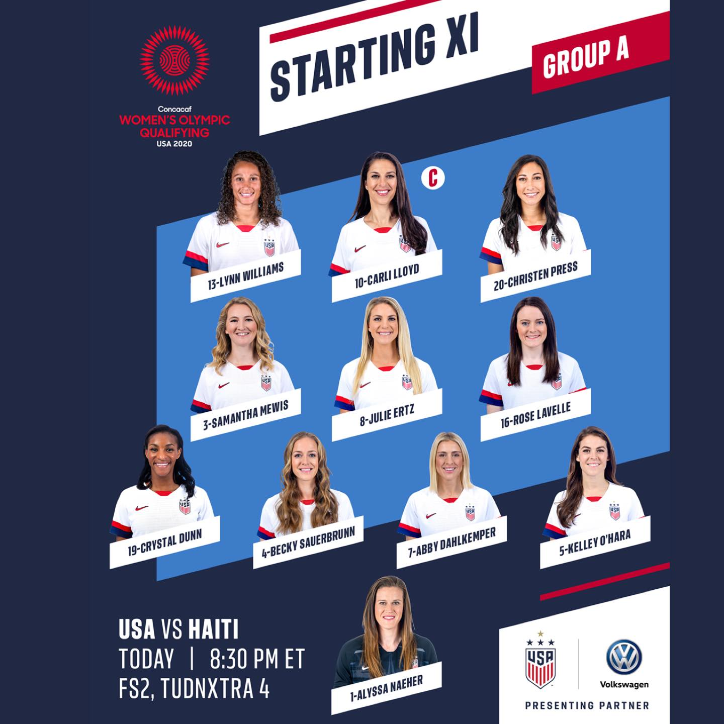 USWNT Starting IX vs Haiti