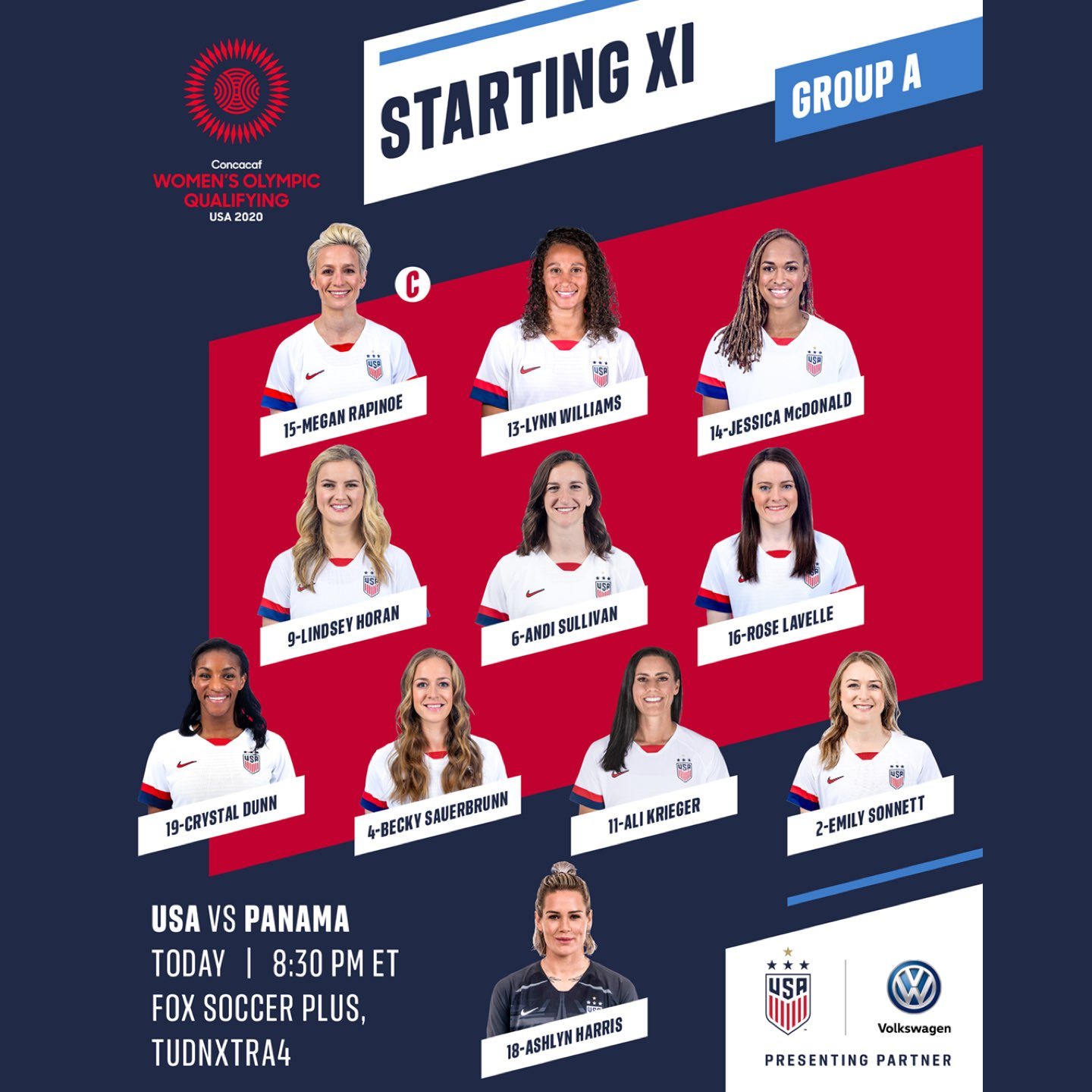 USWNT Starting IX vs Panama
