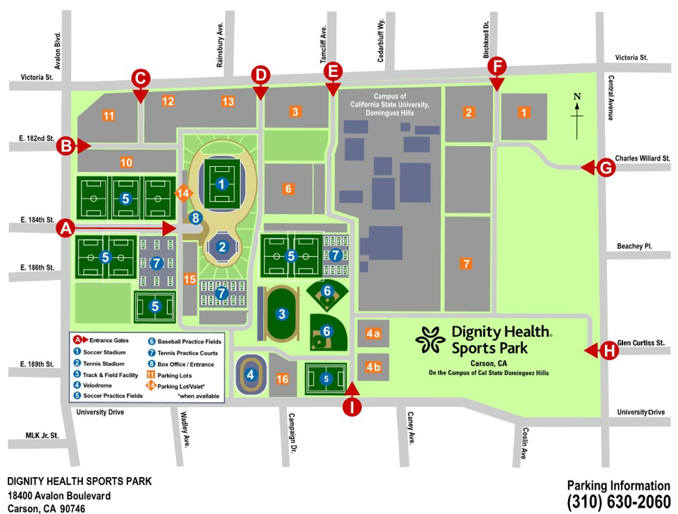 Dignity Health Sports Park Parking Map