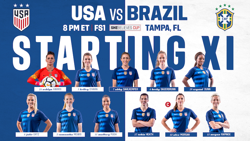 6720da11452 Lineup Notes  USA vs. Brazil Wrap Up 2019 SheBelieves Cup in Tampa