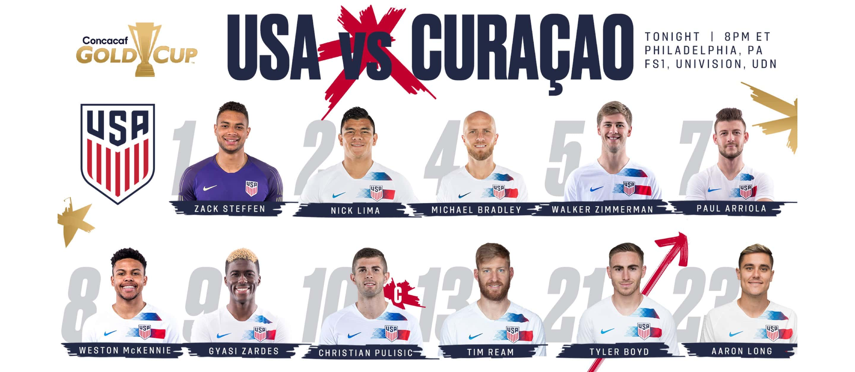 Gold Cup 2019: USA vs  Curaçao - Lineup, Schedule, TV Channels