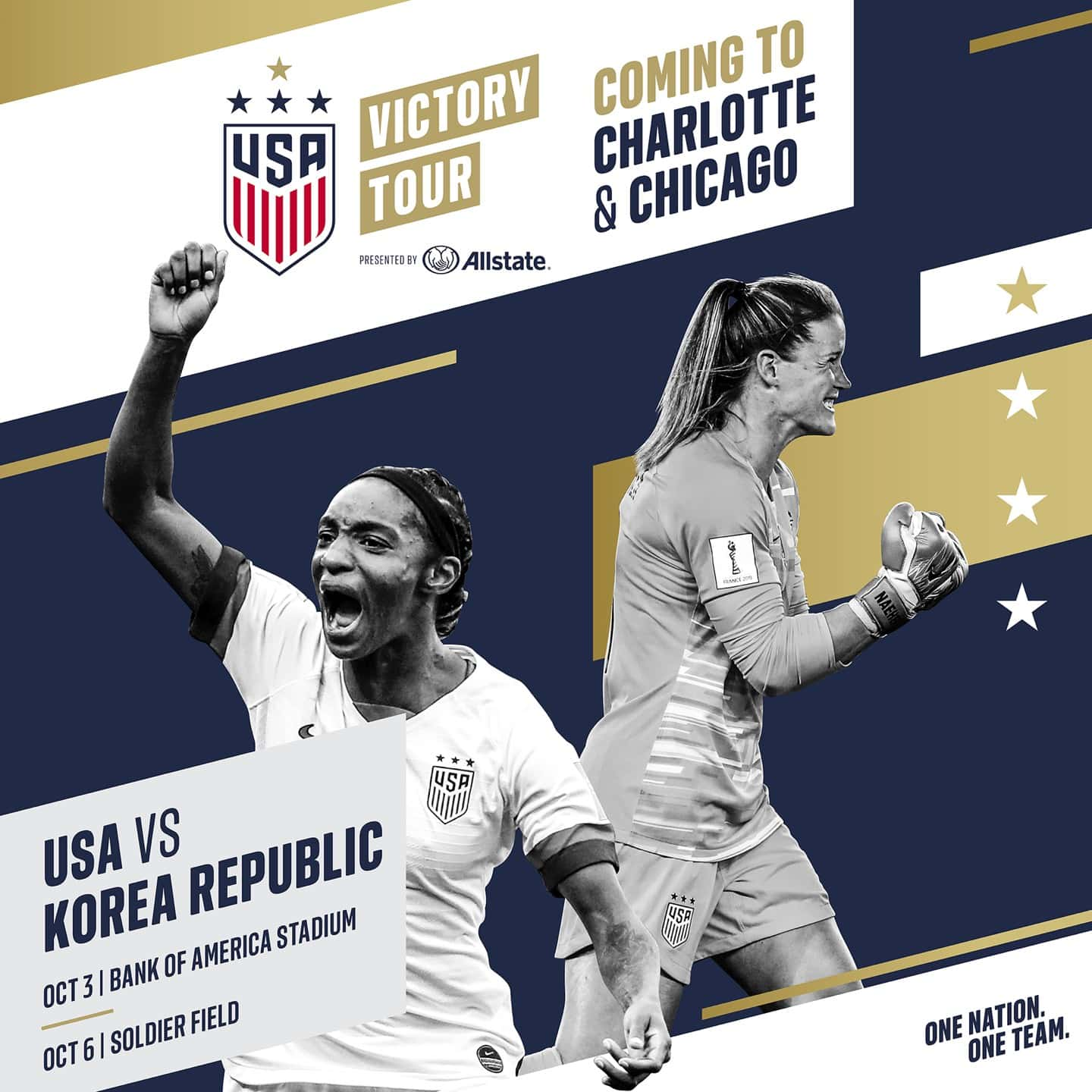 World Champion U.S. Women's National Team To Play In Charlotte, N.C. And Chicago In Last Two Games Of Victory Tour Presented By Allstate