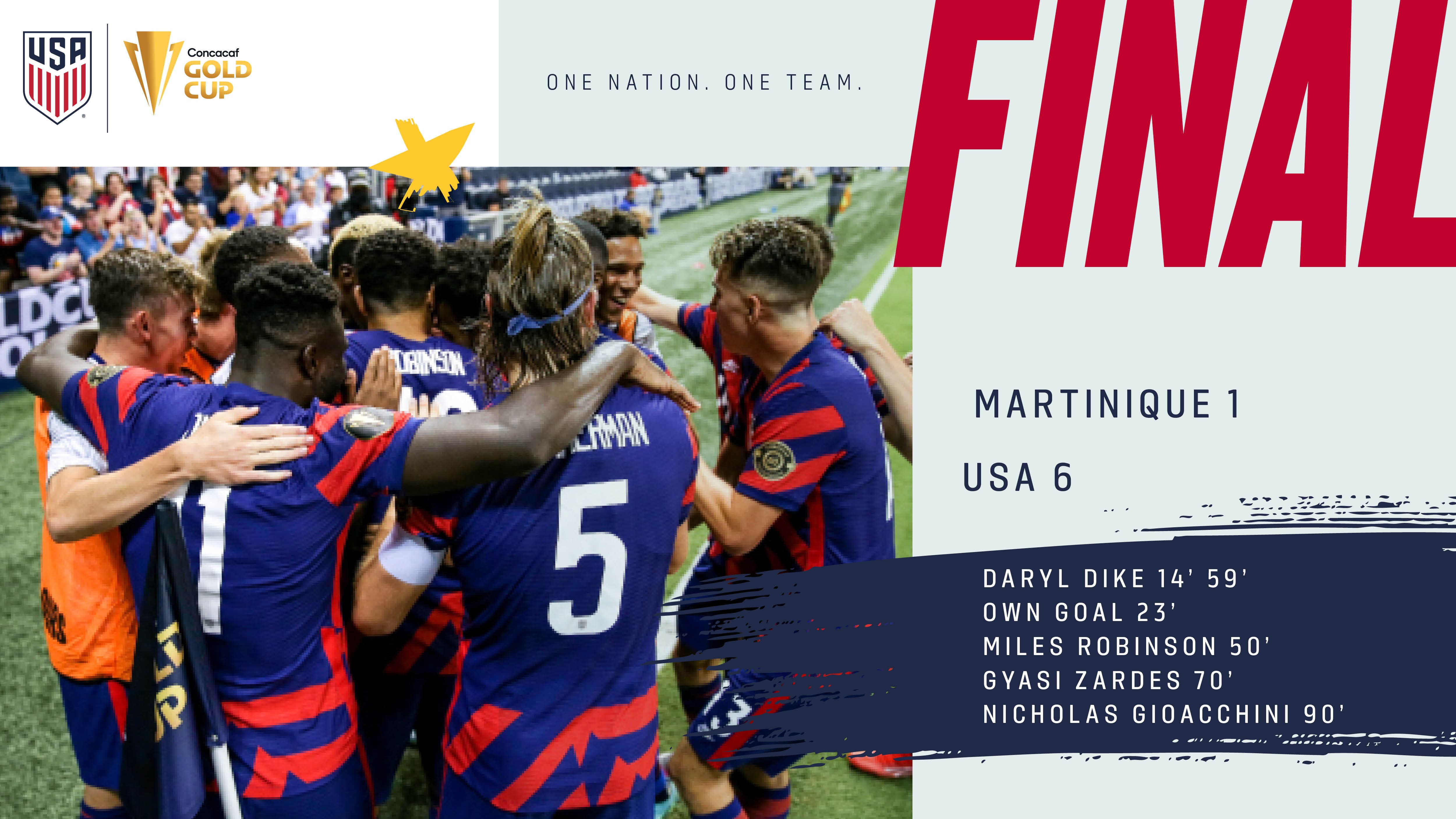 2021 Concacaf Gold Cup: USA 6 - Martinique 1   Match Report, Stats & Group Standings