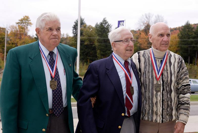 Hall of Fame members Harry Keough, Ray Kraft, and John Souza are about to be introduced at the start of the 2004 Induction Ceremony on Monday October 11, 2004 at the National Soccer Hall of Fame and Museum, Oneonta, NY