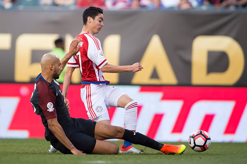 John Brooks Slide Tackler on Miguel Almiron during the USA's 1-0 victory against Paraguay in Copa America Centenario on June 11, 2016