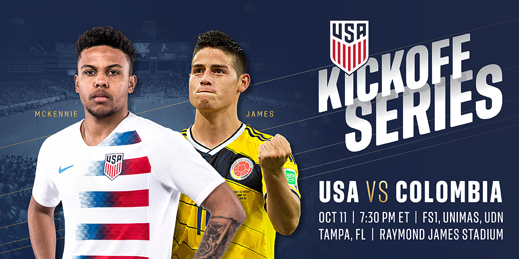 a1d016d086a Kickoff Series Continues with USA-Colombia on Oct. 11 at Raymond James  Stadium in Tampa