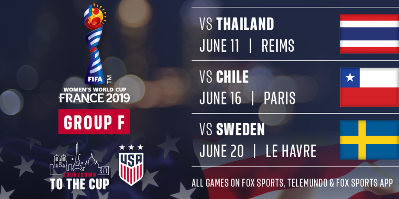 U.S. WNT - 2019 Women's World Cup Group F schedule