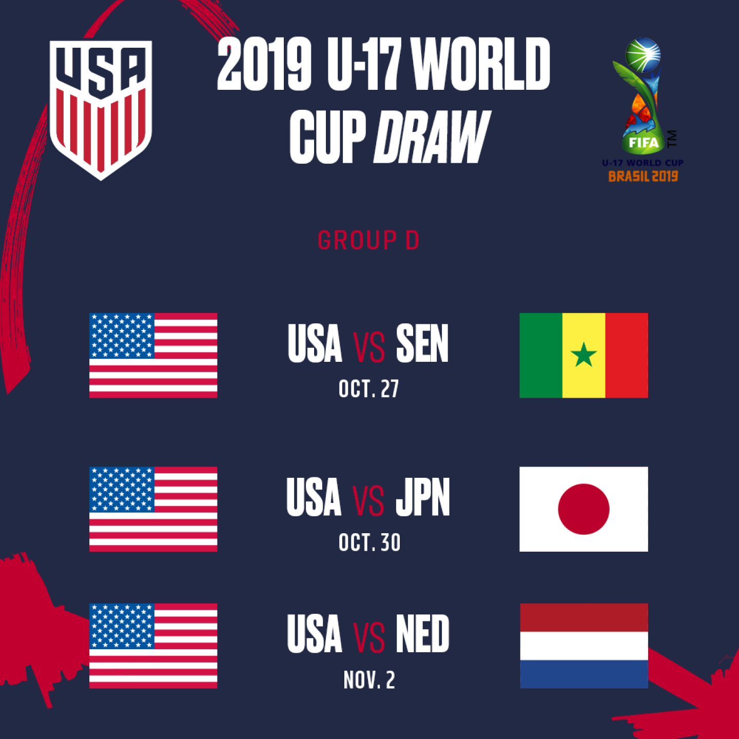 Calendrier Fifa 2019.2019 U 17 World Cup Group Schedule Usa To Face Senegal